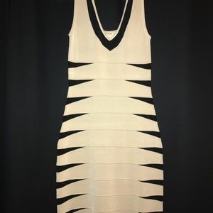 Cream colored with Black stripes down the back